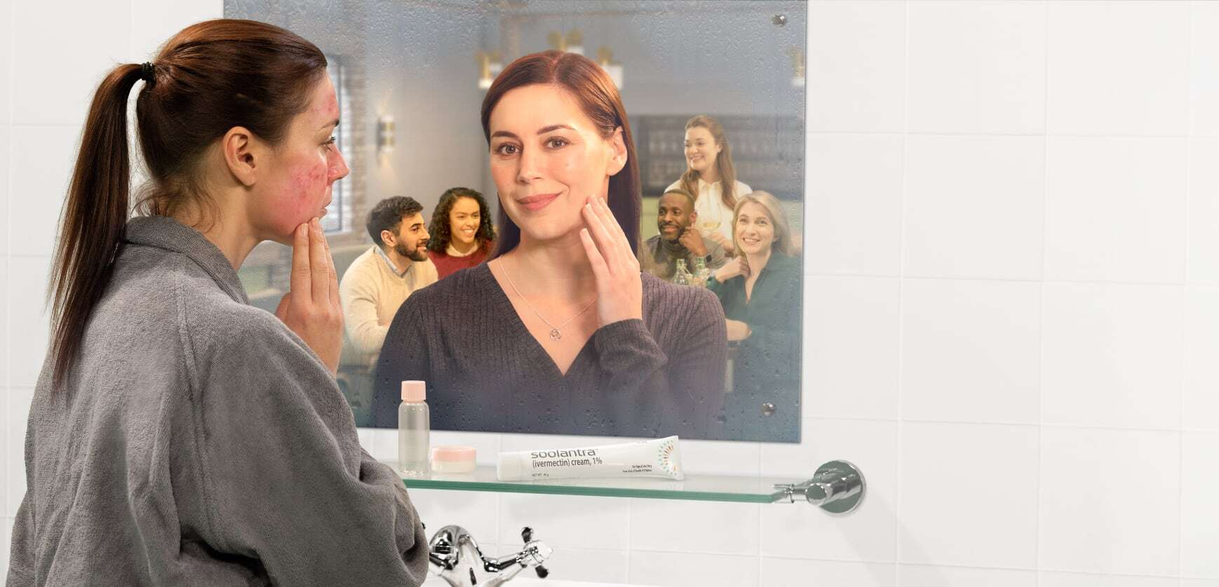 Image of woman with rosacea looking into a mirror and seeing clearer skin after using Soolantra